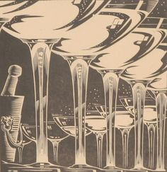 Wood Block Print 1937 Art Deco Champagne Flutes