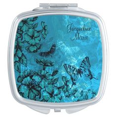Pretty Floral Teal Butterfly Compact Mirror