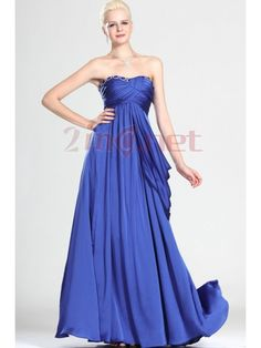 $92.03Blue Strapless Court Train Elastic Satin Princess Evening Dress #With #Draped #Oet0073
