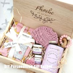 Deluxe Baby Gift Box Deluxe Baby Gift Box Baby Girl Deluxe Baby Box from Hooked in a Box Baby Shower Gift Basket, Baby Gift Box, Baby Baskets, Baby Box, Baby Girl Gifts, New Baby Gifts, Baby Shower Gifts, Baby Girl Presents, New Mom Gift Basket