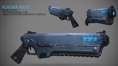 Texture Tutorial - Hand Painting a Sci-Fi Rifle by Kelvin Tan… Ninja Weapons, Sci Fi Weapons, Weapon Concept Art, Weapons Guns, Fantasy Weapons, Guns And Ammo, Arte Cyberpunk, Hand Cannon, Future Weapons