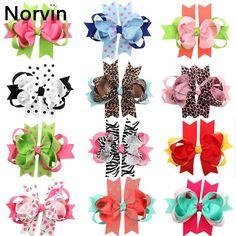 Norvin Bow Ribbon Princess Hairpin Beatiful Print Girl Hair Clip Diy Fashion Europe Bow Girl Hair Accessories 12 Colors HC002