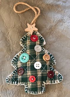 Best 12 Vintage Christmas Tree Ornament Hand Made Ornament Green Plaid Christmas Tree Decorated With Buttons In very good vintage condition – as pictured Measures about 5 inches tall and about 4 inches at its widest As Part Of Your Own Holiday Decorati How To Make Christmas Tree, Unique Christmas Trees, Handmade Christmas, Christmas Diy, Christmas Lights, Christmas Angels, Fabric Christmas Ornaments, Vintage Ornaments, Felt Ornaments