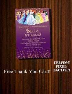 DISNEY PRINCESSES INVITATION, Princess Invitation,Princesses Invitation, Printable Invitation, Cinderella,Birthday,PerfectPixelfactory
