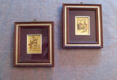 Vintage #Italian #art miniatures Lake Como Peasants in Cart 22 Karat gold leaf original paintings certificate on reverse in frames 3.25 x 3.75 by TrulyMeVintage on Etsy