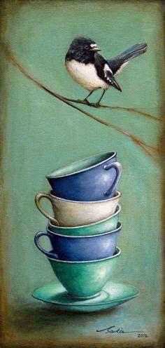 """Solitude"" by Santie Cronje  - Limited Edition Print (Bird Art, Tea cup)"