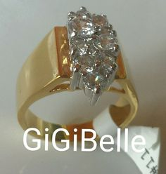 Fashion Cocktail Ring Gold Cubic Zirconia Chunky Size 11 Modern Usa Seller  #Unbranded #Cocktail