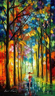 """Under Umbrella"" by Leonid Afremov. Make sure to check his DeviantArt page for print prices, etc..."