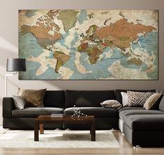 Frameless Push Pin World Maps Wall Art Print on Canvas Set Office Wall Print Decor on Canvas   PRINT ON CANVAS #250 - 1P Total: 16\x24\   41x61 cm