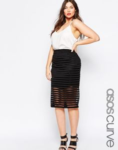 ASOS CURVE Midi Skirt in Sheer Stripe
