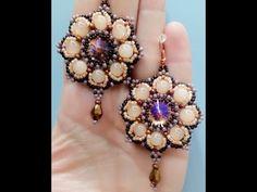 Tutorial orecchini fiorellino:perle 6mm ,rivoli 14mm, roc11/0, roc 8/0, roc 15/0 - YouTube