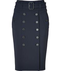 True Navy Belted Midi-Skirt