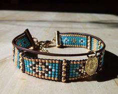 "Bracelet manchette ""Cyclades"" en perles miyuki et cuir"