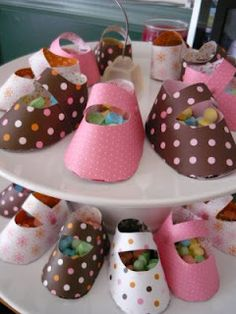 DIY Homemade Mary Jane baby shoes used to hold baby girl shower favors!  CUTE!