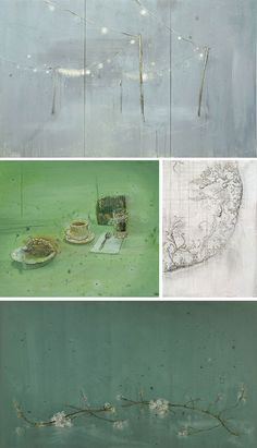 My favourite artist! Michael Raedecker love the combined use of painting and textiles.