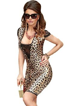 Sexy women s leopard print bodycon mini dress with lace insert. This on  trend ladies fashion dress is fabulous for dancing the night away. fbfe1149a