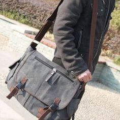 Casual Canvas Men s Messenger Bag With Large Size Durable Belts Zipper  Design f4a8c3c12f