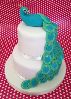 Peacock birthday cake by Little House Cakes, via Flickr