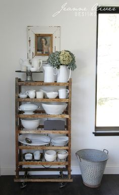 Rustic kitchen shelves to display white dishes and pottery. Finding Fall Home Tour 2016 Farmhouse Style Kitchen, Rustic Kitchen, Farmhouse Decor, Industrial Farmhouse, Rustic Shelves, Wood Shelves, Floating Shelves, Cottage Kitchens, White Dishes