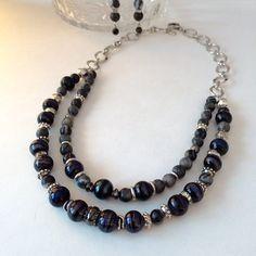 Black silver double strand necklace earrings by BarbsBeadedJewelry