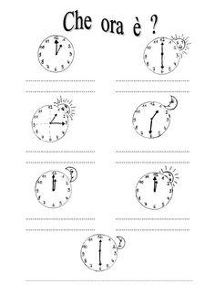 Schede didattiche per imparare a leggere l 39 ora orologio for Che ore sono a detroit