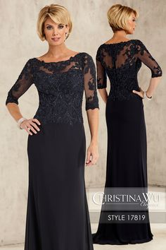 #ChristinaWuElegance Style 17819 Illusion bateau neckline, 3-length sleeves, and high illusion back are decorated with re-embroidered lace and scattered with matching beading. The bodice is all lace, and the skirt is a simple chiffon semi-A line. MATERIAL Chiffon & Lace SILHOUETTE Semi A-Line NECKLINE Bateau COLOR Navy, Sand, Blush