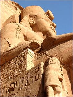 Statute of pharaoh Ramesses II and his daughter, Abu Simbel Temple, Egypt