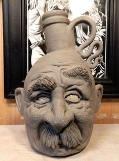 Another Mr Mustache Jug- WIP by thebigduluth on DeviantArt click now for more info. Paper Mache Sculpture, Sculpture Projects, Ceramics Projects, Sculpture Art, Ceramics Ideas, Pottery Studio, Pottery Art, Aluminum Foil Art, Crane