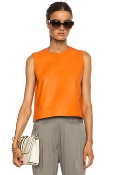 Jenni Kayne|Zip Back Shell Leather Top in Orange