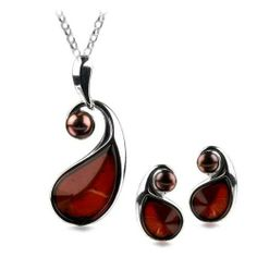 Sterling Silver Red Dark Amber Pearl Teardrop Stud Earrings Necklace Set 18 Inches GRACIANA. $124.98. All amber jewelry designs are from Eastern Europe. Save 49%!