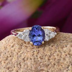 14K Yellow Gold Tanzanite and Diamond Classy Ring
