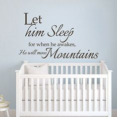 MairGwall Let Him Sleep For When He Wakes Will Move Mountain Boy Room Kid Baby Nursery Wall Decal Sticker White Medium >>> Find out more about the great product at the image link-affiliate link. #KidsRoomDecor