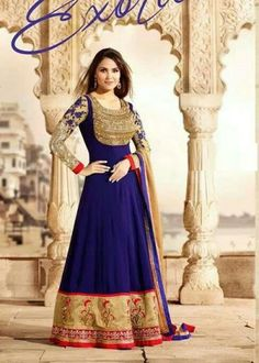 #LaraDutta Suit-Blue Faux Georgette #Anarkali #Suit with Embroidered and Lace Work - Rs. 7,749 #zohraa