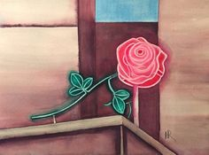 The Rose is a neon sign that sits atop the Portland Visitor's Center on Pioneer Square in Downtown Portland, Oregon. Please visit my website if you are interested iin purchasing either the original or a print. Watercolor Paintings For Sale, Original Art, Original Paintings, Downtown Portland, Portland Oregon, Botanical Art, Flower Art, Free Delivery, The Incredibles