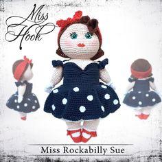 Crochet doll pattern Miss Rockabilly Sue // Miss Hook Like me on Facebook... facebook.de/... Häkelanleitung Puppe eBook