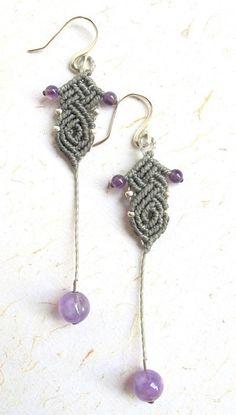 micro macrame earrings - macrame earrings - amethyst and silver - micro macrame earrings - boho - bohemian - hippie