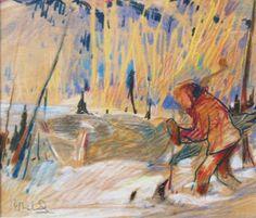 René RICHARD - Personnage dans la neige (c.1940) Canada, Sculpture, Pastel, Portraits, Painting, Canadian Artists, Fine Art Paintings, How To Paint, History