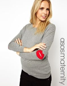 Image 1 of ASOS Maternity Sweater with Lips Elbow Patch