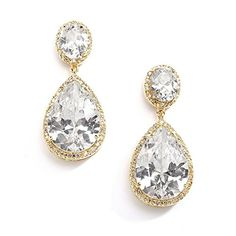 Mariell 14K Gold Plated CZ Clip On Wedding Earrings with OvalCut Halos and Bold PearShaped Dangles ** Find out more about the great product at the image link.