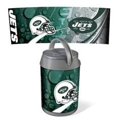 "New York Jets NY Mini Can Cooler. Beverage can replica features carry handle and 6-can capacity. This Jets can cooler is durable, insulated plastic construction. The cooler measures 7.1"""" in diameter"