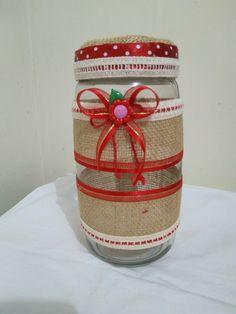 Burlap Lace, Hessian, Mason Jar Crafts, Mason Jars, Jar Art, Bottle Lights, Glass Jars, Bottles, Christmas
