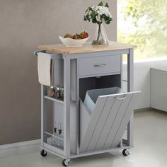 Baxton Studio Yonkers Contemporary Light Grey Kitchen Cart with Wood Top | Overstock.com Shopping - The Best Deals on Kitchen Carts