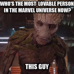 "Who's the most loveable person in the Marvel universe now? ""I am Groot"" #GuardiansOfTheGalaxy #Groot"