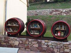 Elisa Delisa by Lake Balaton, in Hungary Little Library, Little Free Libraries, Dream Library, Creative Bookshelves, Bookshelf Ideas, Shelving Ideas, Street Library, Barrel Projects, Floating Shelves Diy