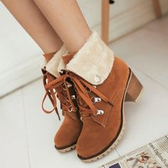 Lace Up Faux Suede Block Heels Roman Winter Ankle Boots Womes Shoes Plus Size