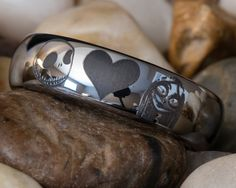 Tungsten Carbide Band 6mm Dome Jack and Sally by FANaticCreations, $49.00