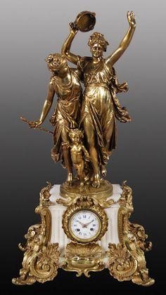 186: Raingo Freres bronze and marble figural clock, : Lot 186