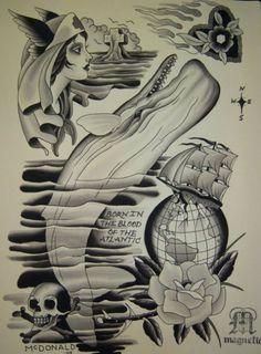 Nautical flash by McDonald. Whale Tattoos, Leg Tattoos, Tatoos, Henna Tattoo Hand, Finger Tats, Traditional Tattoo Flash, American Traditional, Neo Traditional, Modern Tattoos