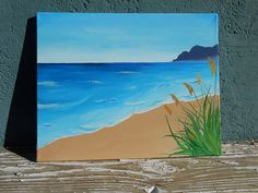 Beach Landscape Painting Original Acrylic Painting by Mae2Designs