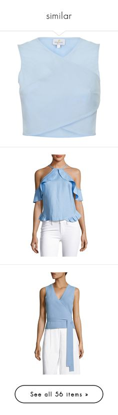 """similar"" by larycao ❤ liked on Polyvore featuring tops, blue crop top, cut-out crop tops, wrap style top, light blue top, light blue crop top, light blue, open back tops, halter-neck crop tops and blue top"